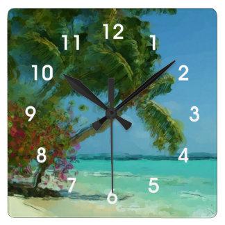 Tropical Palm Tree Beach Painting Wall Clock