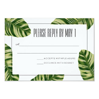 Tropical Palm Tree Beach RSVP Card