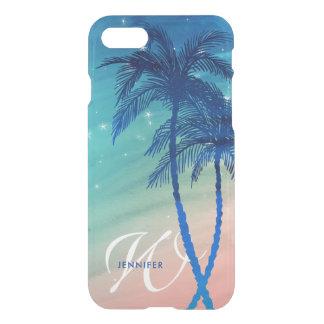 Tropical Palm Tree Beach | Teal Peach Monogram iPhone 8/7 Case
