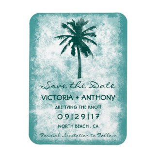 Tropical Palm Tree Beach Wedding Save The Date Magnet