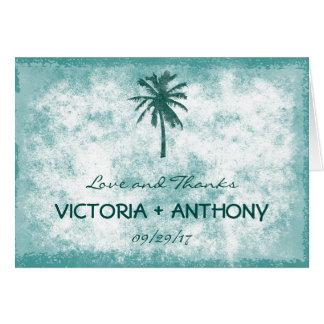Tropical Palm Tree Beach Wedding Thank You Card