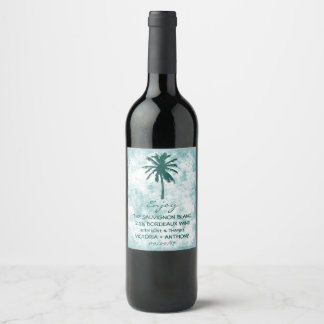 Tropical Palm Tree Beach Wedding Thank You Wine Label