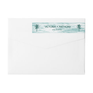 Tropical Palm Tree Beach Wedding Wrap Around Label