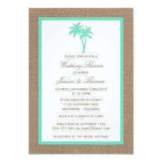 "Tropical Palm Tree Burlap Beach Wedding Shower 5"" X 7"" Invitation Card"