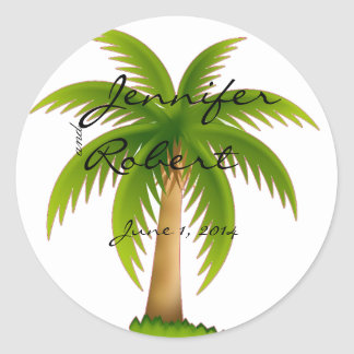 Tropical Palm Tree Envelope Seal Round Sticker