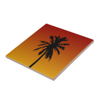 Tropical Palm Tree In Red Orange Sunset Tile