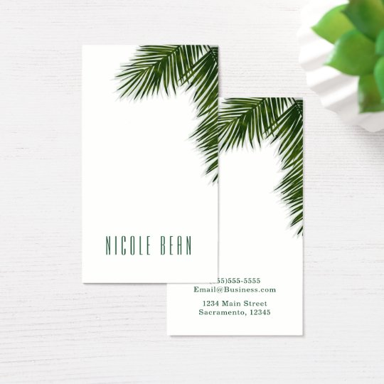 Tropical Palm Tree Leaf Elegant Summer Chic Custom Business Card