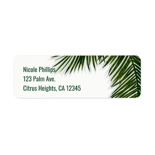 Tropical Palm Tree Leaf Elegant Summer Invitation Return Address Label