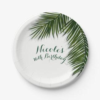 Tropical Palm Tree Leaf Elegant Summer Wedding Paper Plate