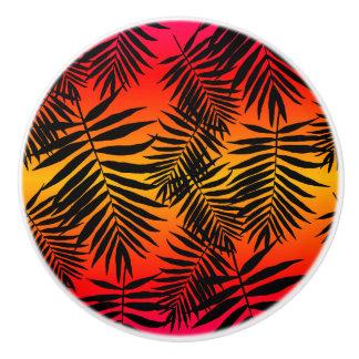 Tropical Palm Tree Leaf Shadow On Sunset Ceramic Knob