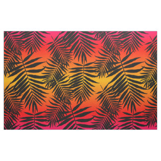 Tropical Palm Tree Leaf Shadow On Sunset Fabric