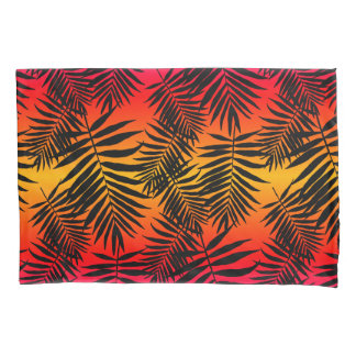 Tropical Palm Tree Leaf Shadow On Sunset Pillowcase