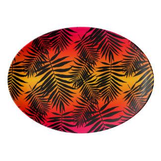 Tropical Palm Tree Leaf Shadow On Sunset Porcelain Serving Platter