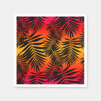 Tropical Palm Tree Leaf Shadow On Sunset Summer Disposable Napkin