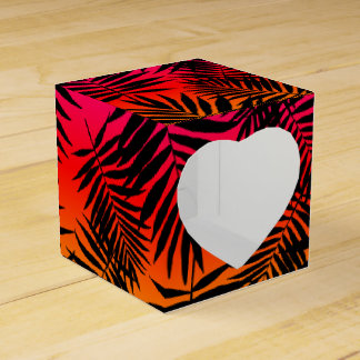 Tropical Palm Tree Leaf Shadow On Sunset Summer Party Favor Box