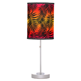 Tropical Palm Tree Leaf Shadow On Sunset Table Lamp