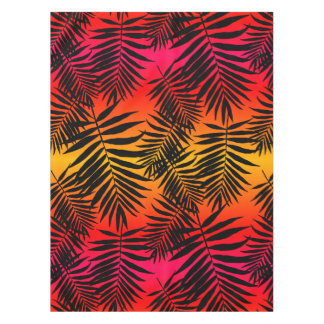 Tropical Palm Tree Leaf Shadow On Sunset Tablecloth