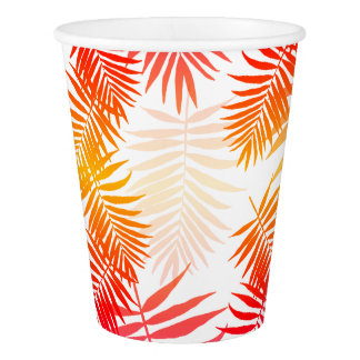 Tropical Palm Tree Leaf Summer Sunset Paper Cup