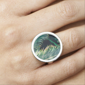 Tropical Palm Tree Leaves, Exotic Photograph Rings