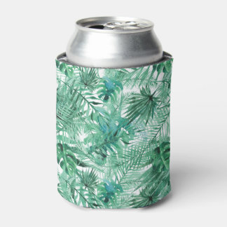 Tropical Palm Tree Leaves Pattern Can Cooler