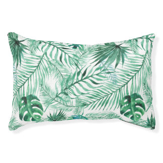 Tropical Palm Tree Leaves Pattern Dog Bed