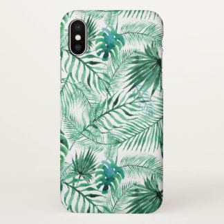 Tropical Palm Tree Leaves Pattern iPhone X Case