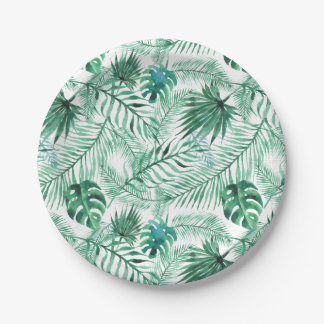 Tropical Palm Tree Leaves Pattern Paper Plate