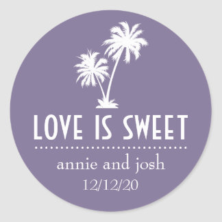 Tropical Palm Tree Love Is Sweet Label (Eggplant) Round Sticker
