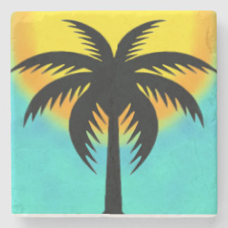 TROPICAL PALM TREE MARBLE STONE COASTER
