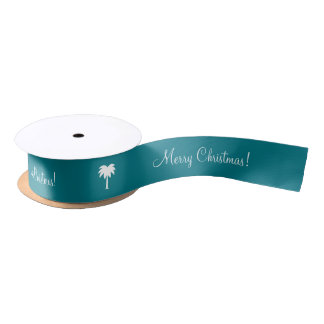 Tropical palm tree Merry Christmas winter Holiday Satin Ribbon