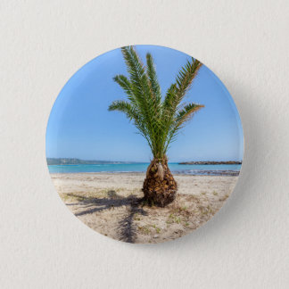Tropical palm tree on sandy beach 2 inch round button