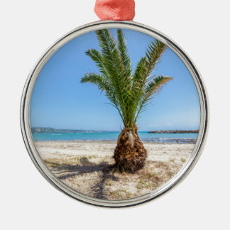 Tropical palm tree on sandy beach Silver-Colored round ornament