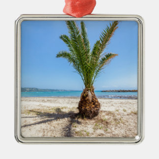 Tropical palm tree on sandy beach Silver-Colored square ornament