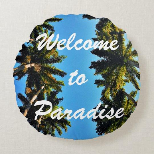Tropical palm tree paradise beach summer photo round pillow