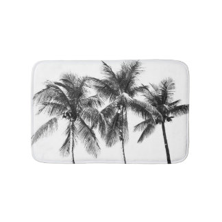 Tropical palm tree paradise summer black and white bath mat