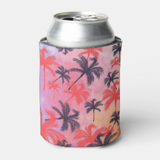 Tropical Palm Tree Pastel Watercolor Pattern Can Cooler