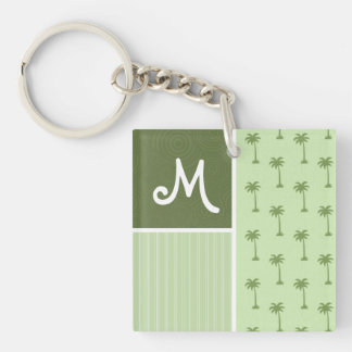 Tropical Palm Tree Pattern Double-Sided Square Acrylic Keychain