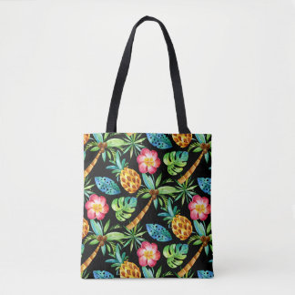 Tropical Palm Tree Pineapple Plumeria Pattern Tote