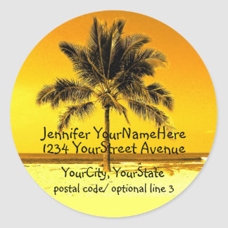 Tropical Palm Tree return address labels Round Sticker