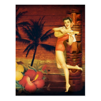 tropical Palm Tree totem pole hawaiian girl aloha Postcard