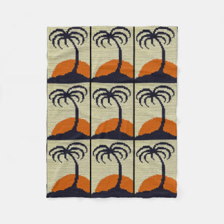 Tropical Palm Tree with Orange Sunset Crochet Fleece Blanket