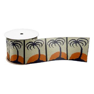 Tropical Palm Tree with Orange Sunset Crochet Satin Ribbon
