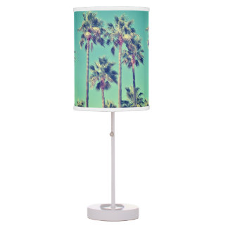 Tropical Palm Trees against a Teal Green Sky Table Lamp