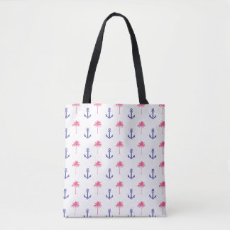 Tropical Palm Trees & Anchors Vintage Tote Bag