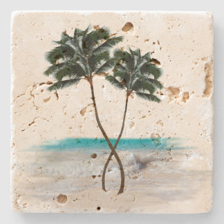 Tropical Palm Trees and Ocean Beach Stone Coaster