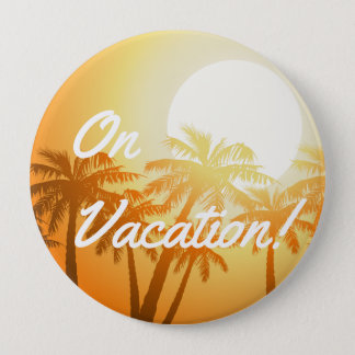Tropical palm trees at sunset 4 inch round button