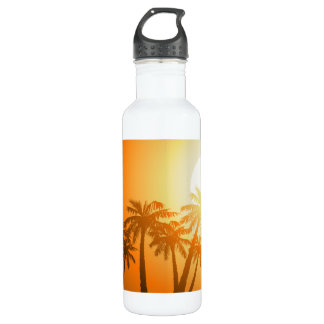 Tropical palm trees at sunset 710 ml water bottle
