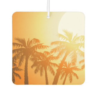Tropical palm trees at sunset air freshener