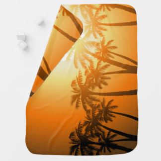 Tropical palm trees at sunset baby blanket