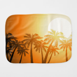 Tropical palm trees at sunset burp cloth